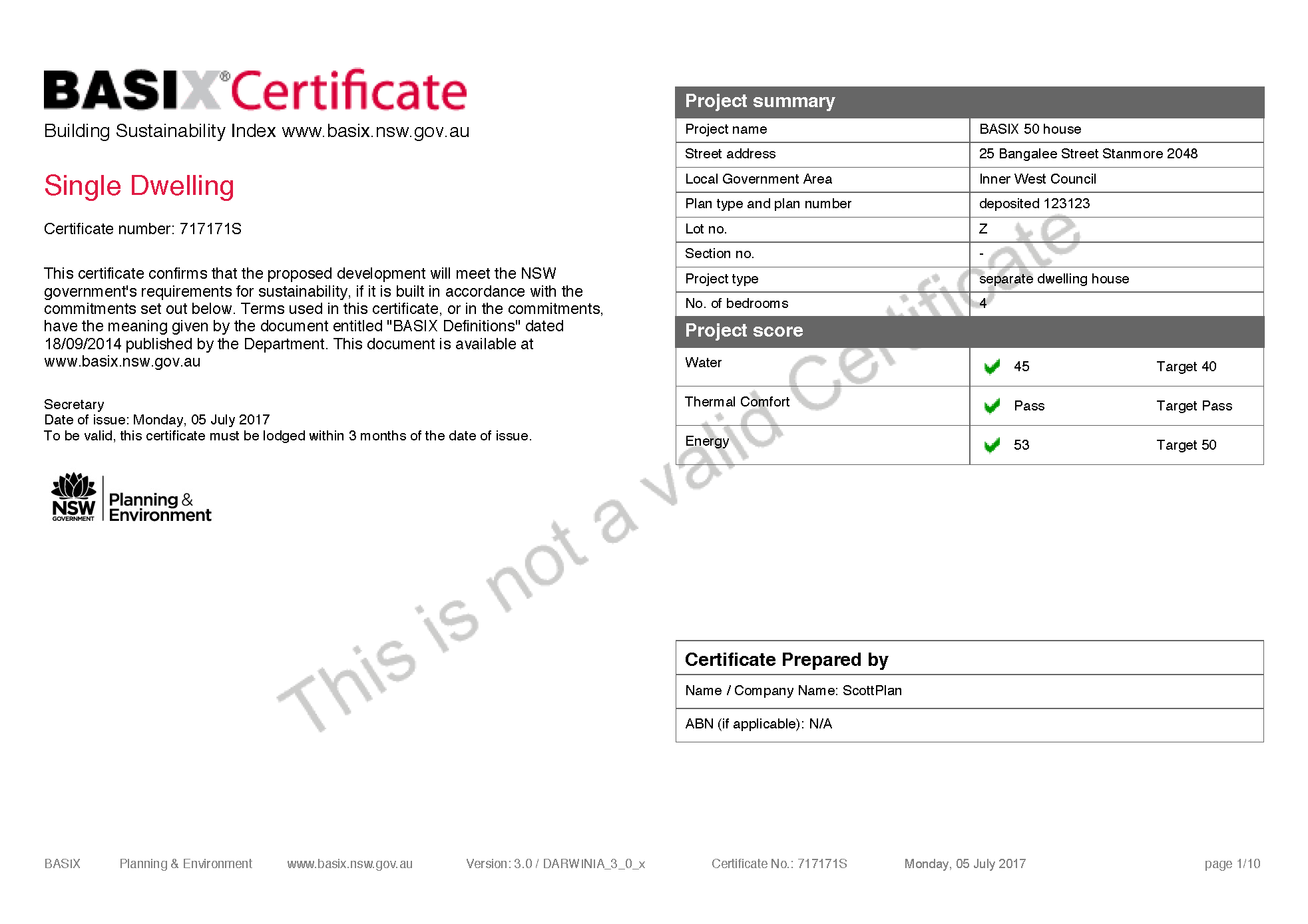 Basix certificates basix building sustainability index sample basix certificate single home development click on the image for a full sample certificate 10 page pdf doc xflitez Image collections