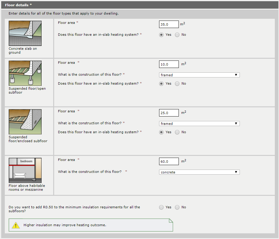 Figure 4 – Sample screenshot showing the optional question to commit to an additional R0.5 for suspended floors