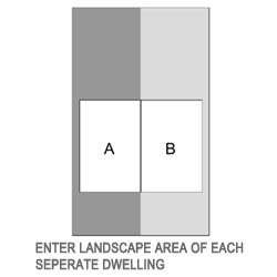 Figure 3 - dwellings do not share landscape. Enter landscape area of each separate dwelling