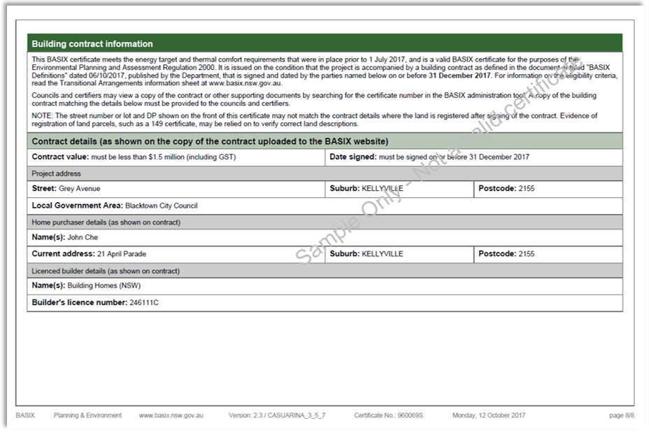 Example of last page of  BASIX Certificate using the pre-July targets generated via the online application