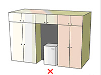 Diagram of a poorly ventilated refrigerator