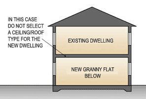 Cross section of a new dwelling underneath an existing dwelling
