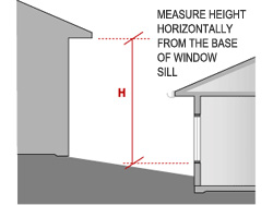 For overshading from a building, measure the height (H) from the sill of the window to the leading edge.