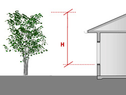 For overshading from a tree, measure the height (H) from the sill of the window to the top of the tree.