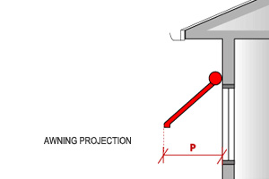 For fixed or adjustable awnings, measure the projection (P) from the window to the leading edge of the awning.