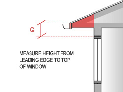 Measure the height above window head (G) of an eave from the leading edge to the top of the window.