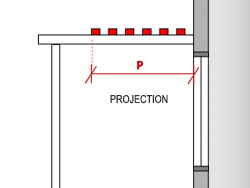 For a pergola with fixed battens, measure the projection (P) from the window to the leading edge, that is, the last batten in the series.