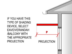 Measure the  projection (P) of a shading device from the window to the leading edge.