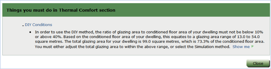 Figure 2 – Sample message when total glazing area falls outside range suitable to DIY method