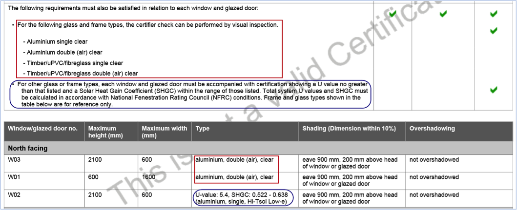 Figure 3 – An extract of a sample BASIX certificate on the glazing section