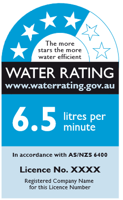 Example of WELS water rating label